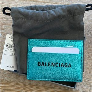 Balenciaga Metallic Turquoise Card Holder